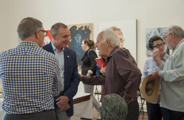 Len chatting with Premier Jay Weatherill at the funding announcement for the Ephemeral Art Project 2015