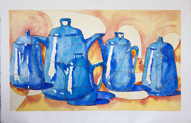Glenys Christopher - Blue Coffee Pots