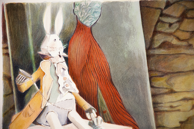 Kathleen Aird - Visiting Lis, Rabbit - detail - Watercolour - $950