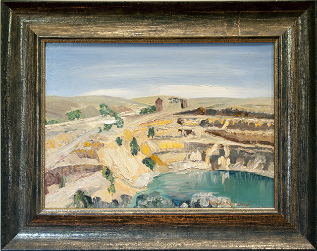 Roland Weight - The Burra Mines - Oil on board - $1200