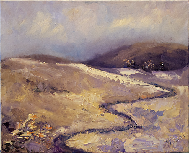 Roslyn Batten - Down to those Burra Hills - Oil - $220 SOLD 640