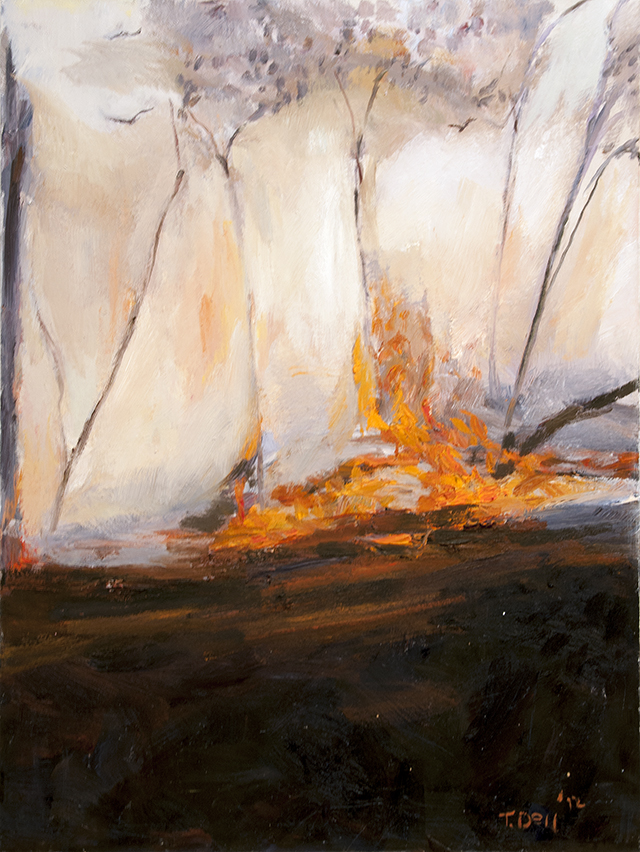Tim Dell - Small Fire - Oil on Canvas - $900