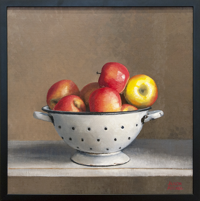 Alison Mitchell - Apples in Colander - Oil on Linen - $1800