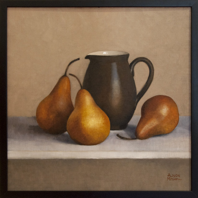 Alison Mitchell - Brown Jug and Pears Oil on Linen - $1800