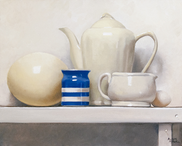 Alison Mitchell - On the Shelf - Eggs - Oil on Canvas - $3250