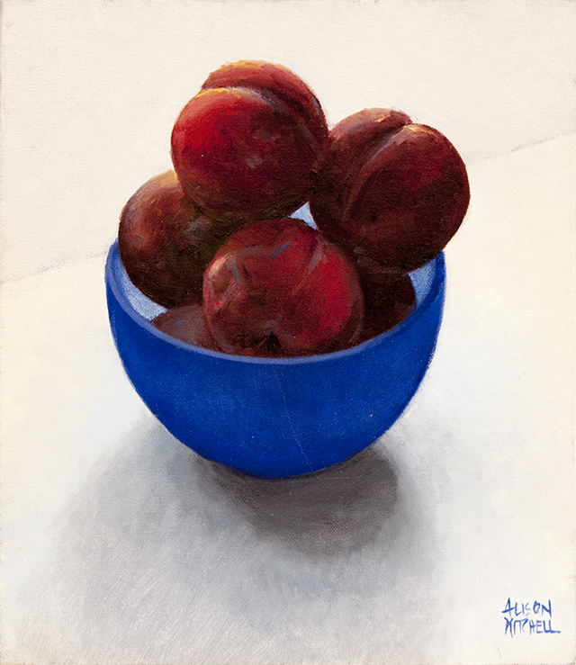 Alison Mitchell - Plums in Blue Bowl - Oil on Canvas - $1500