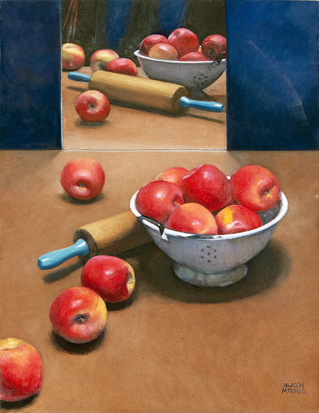 Alison Mitchell - Reflected Apples - OIl on Canvas - $3000