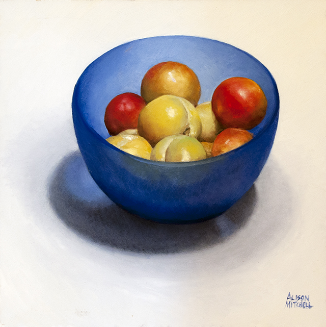 Alison Mitchell - Satsumas in Blue Bowl - Oil on Canvas - $3250