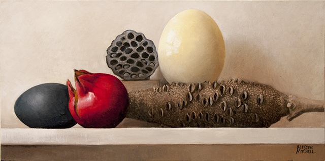 Alison Mitchell - Still Life with Seed Pods - Oil on Canvas - $1600
