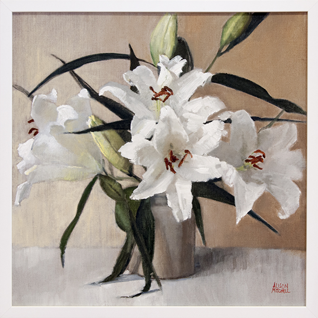 Alison Mitchell - White Lillies - Oil on Linen -$1800
