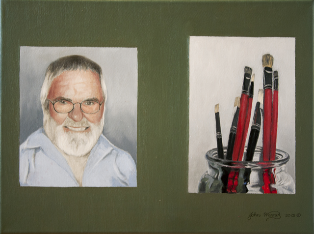 John Warner - The Artist and His Brushes - Oil - NFS