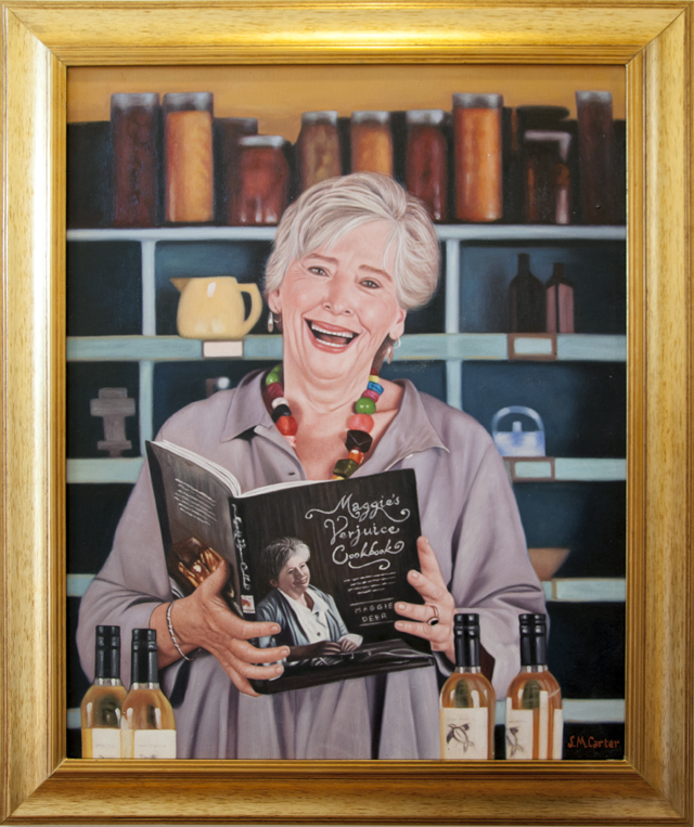 Sam Carter - Maggie Beer  - in the Kitchen - Oil on canvas - $686