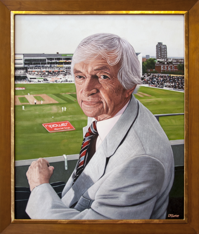 Sam Carter - Ritchie Benaud - Commentator's Box - Oil on canvas - $686