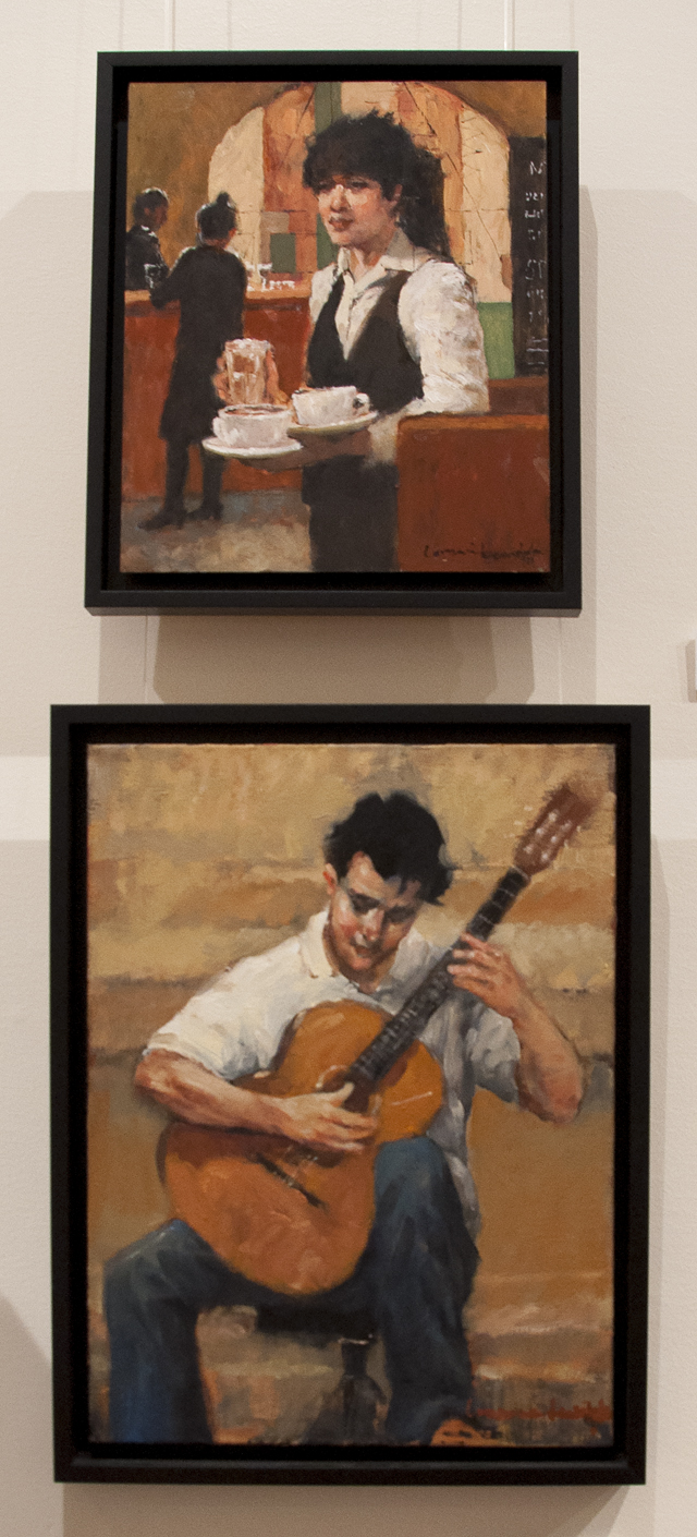 Lorraine Lewitzka - The Waitress - Oil - $500 and The Busker - Oil - $550