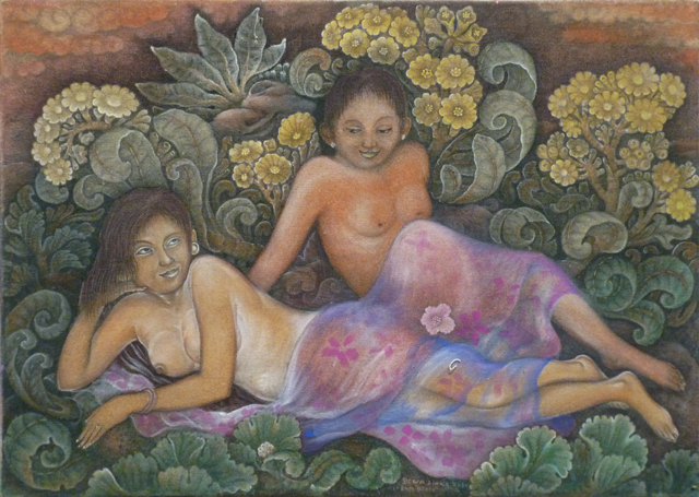 Dewa Biang Raka - The Twin Pregnant Ladies - Acrylic on canvas - 46 x 65cm - $350