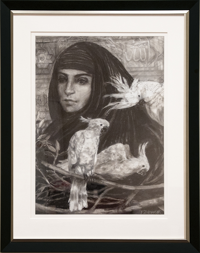 Fiona Dowler - Refugee: Reflection on Coming to Australia - charcoal and pastel - $1200