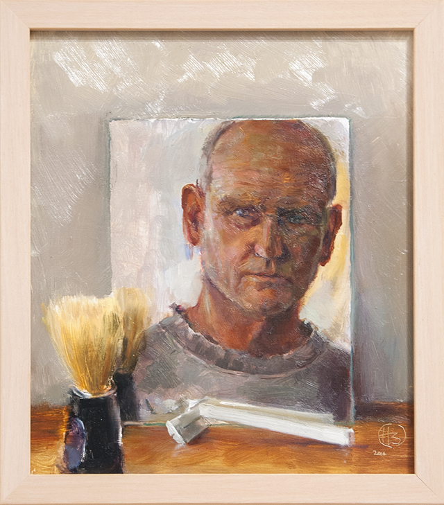 Harry Sherwin - The Artist about to Shave - Oil - $1200