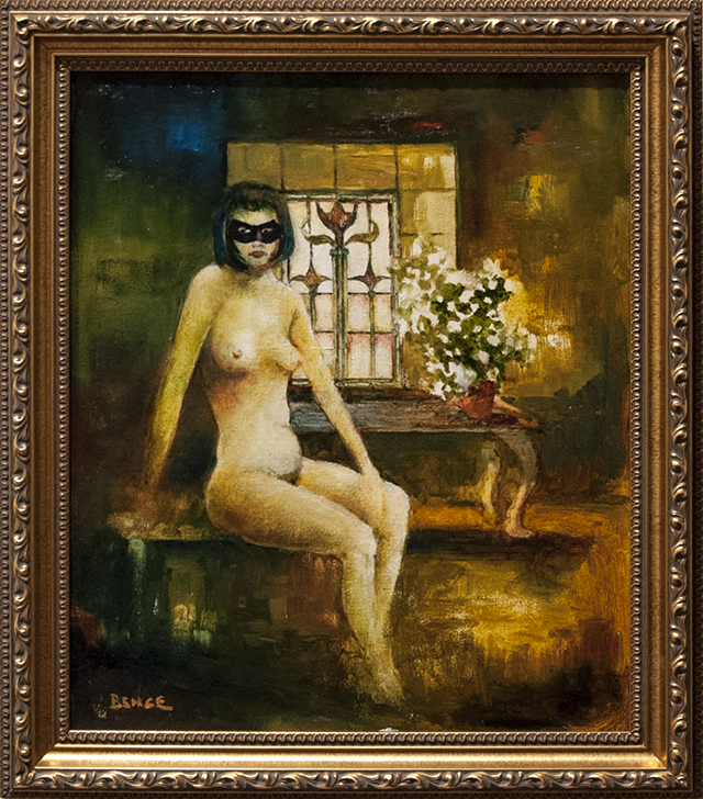 Leonard Bence - Nude with Mask - Oil - $950