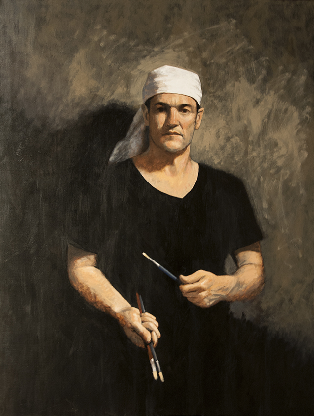 Michael Hocking - Self Portrait with Brushes