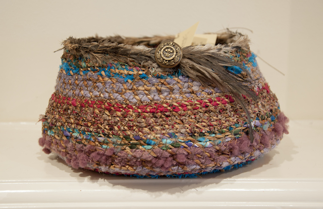 Beth Wiley - Art of the Sewing Basket - Chasmanthe string, Wool, Silk, Emu Feathers - $130