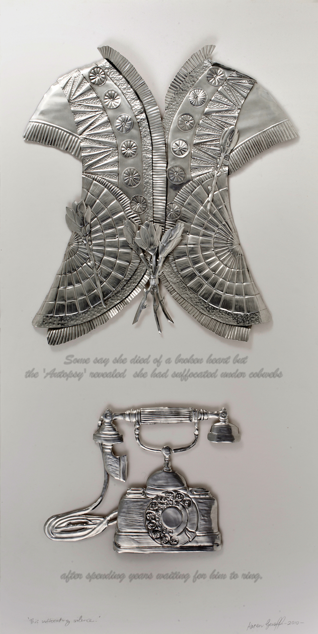 Karen Genoff - This Suffocating Silence in embossed aluminium, glass and text - $3000