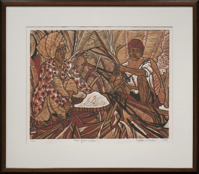 Colleen Morrow - Rice Field Workers - Reduction lino cut - $450