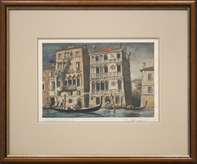 Edward Bouverie Hoyton - 1926 - The Towering Palais -Venice - Hand coloured copper etching - $800