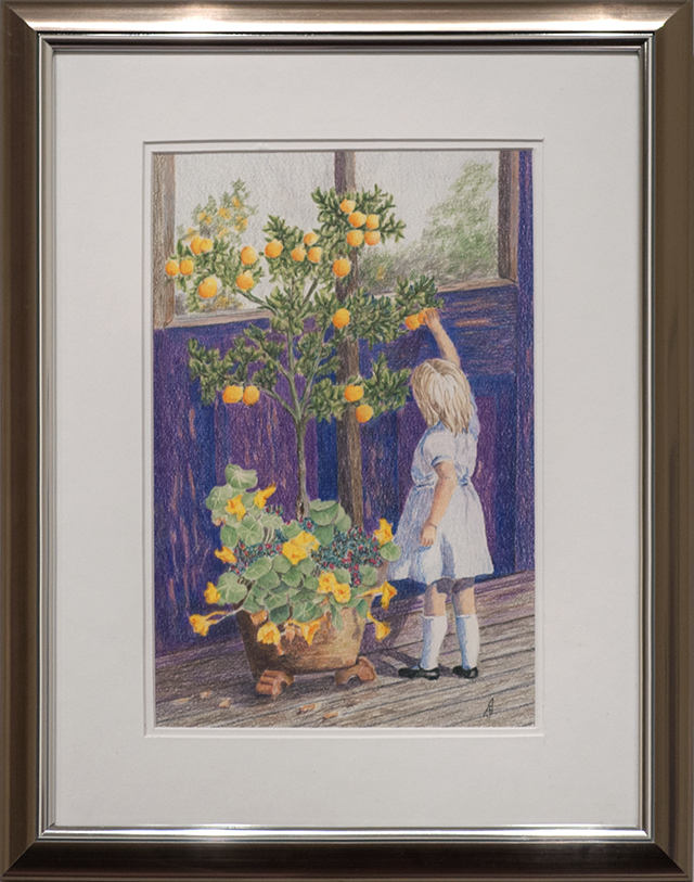 Janys Asser - Are They Ripe yet? - Coloured pencil - $250