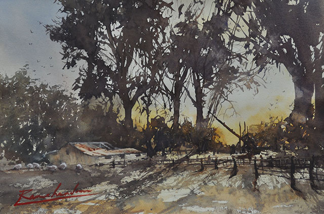 Alan Ramachandran - Evening Shadows - watercolour - $1970