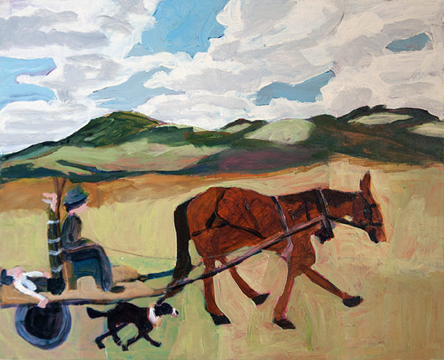 Sue Michael - Off to hospital Acrylic on board - $275