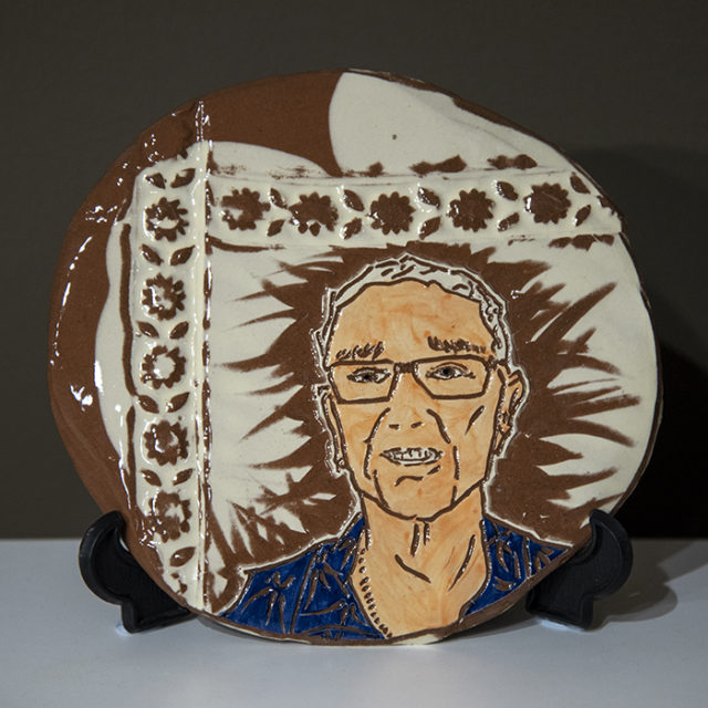 Jill Foster, Burra Faces, Francis - Clay slab (with black stand) $48