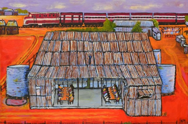 Kunyi June Anne McInerney, Mission Buildings with Dining Area, 2017, acrylic on canvas, 61x91 cm. On loan from the Migration Museum, a division of the History Trust of South Australia, image courtesy of the artist.